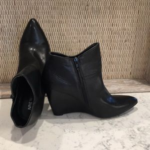 Nine West Vegan Leather Wedge Booties